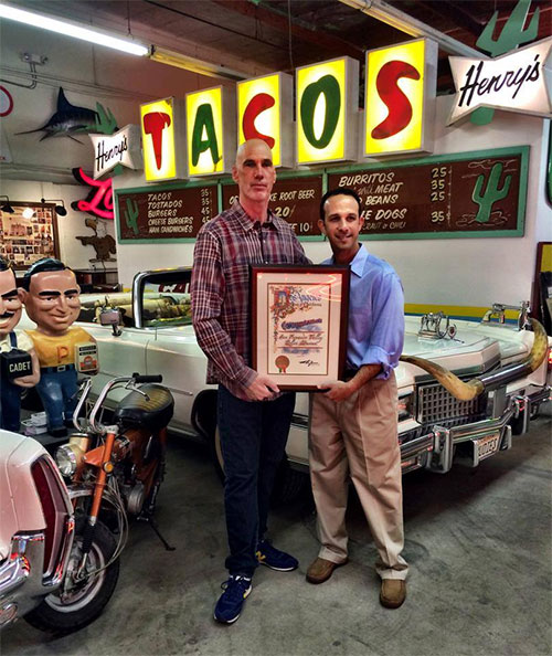 Valley Relics Founder/Curator Tommy Gelinas with Councilman Mitchell Englander.