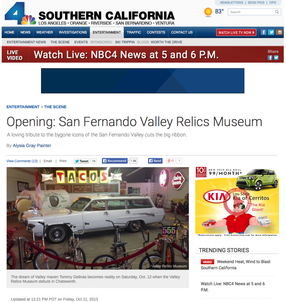 VALLEY RELICS FEATURED ON NBC CHANNEL 4