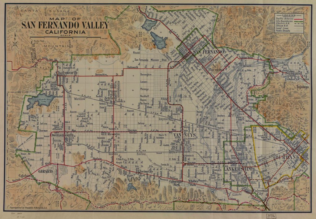 Map of the San Fernando Valley from 1923. Donated by Robert Aitchison